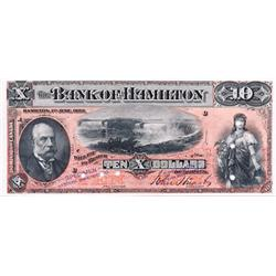 THE BANK OF HAMILTON.  $10.00.  1 June, 1892.  CH-345-16-04S.  PCGS graded Extra Fine-45. PPQ.