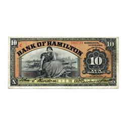 "THE BANK OF HAMILTON.  $10.00.  1 June, 1914.  CH-345-20-16.  ""C…C"" overprinted in red.  No. 593729."