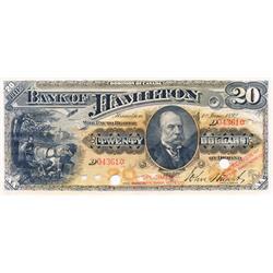THE BANK OF HAMILTON.  $20.00.  1 June 1892.  CH-345-16-06S.  No. 04361.  PCGS graded AU-55. PPQ.