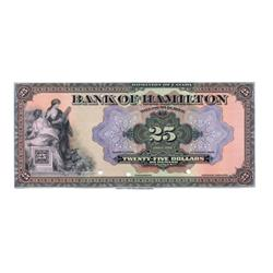 THE BANK OF HAMILTON.  $25.00.  March 1, 1922.  CH-345-22-06P.  A full colour Face Proof on thin pap