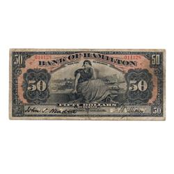 THE BANK OF HAMILTON.  $50.00.  June 1, 1914.  CH-345-20-22.  'C…C' overprinted in red.  No. 014128.