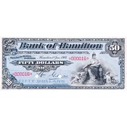 THE BANK OF HAMILTON.  $50.00.  2 Jan., 1904.  CH-345-18-08S.  No. 000016.  PCGS graded Unc-63.
