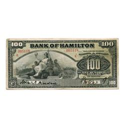 THE BANK OF HAMILTON.  $100.00.  June 1, 1909.  CH-345-20-26.  'E…E' overprinted in red.  No. 005118