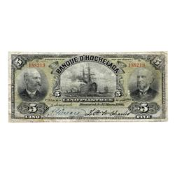 LA BANQUE D'HOCHELAGA.  $5.00.  Mar. 1, 1907.  CH-360-18-04.  CCCS graded Fine-15.  Only four exampl