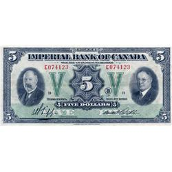 THE IMPERIAL BANK OF CANADA.  $5.00.  Nov. 1, 1933.  CH-375-20-02.  No. E074123/D.  PMG graded Extra