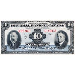 THE IMPERIAL BANK OF CANADA.  $10.00.  Nov. 1, 1934.  CH-375-22-08.  Jaffrey/Rolph.  No. G182953/B.