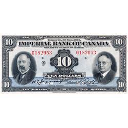 THE IMPERIAL BANK OF CANADA.  $10.00.  Nov. 1, 1934.  CH-375-22-08.  Jaffrey/Rolph.  No. G182953/B.