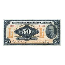 THE IMPERIAL BANK OF CANADA.  $50.00.  Nov. 1, 1923.  CH-375-18-14.  Howland, left.  No. E4564/D.  G