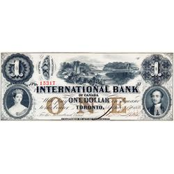 THE INTERNATIONAL BANK OF CANADA.  $1.00.  Sept. 15, 1858.  CH-380-10-08-08.  Bridge Fitch, right. B