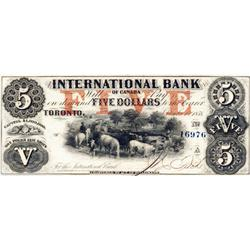 THE INTERNATIONAL BANK OF CANADA.  $5.00. Sept. 15, 1858.  CH-380-10-10-16a. Red Protector. Fitch, r