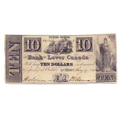 THE BANK OF LOWER CANADA.  $10.00.  c. 1829-1851. Aug. 14/1850.  CH-410-10-12.  No. 436.  PMG graded