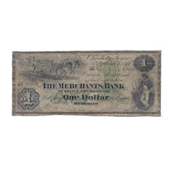 THE MERCHANTS BANK OF P.E.I.  $1.00.  Sept. 1, 1877.  No. 42859.  PMG graded Very Good-10.  Excessiv