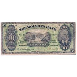 THE MOLSONS BANK.  $10.00.  3 Jan., 1916.  CH-490-36-02.  No. 122140/B.  PMG graded Very Good-8.