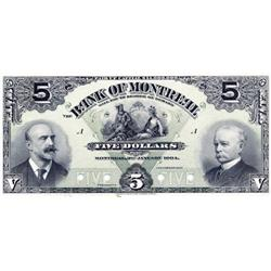 THE BANK OF MONTREAL.  $5.00.  Jan. 3, 1904.  CH-505-48-02P.  A full colour Face Proof on thin paper