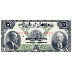 THE BANK OF MONTREAL.  $5.00. Jan. 2, 1923.  CH-505-56-02P.  A Specimen.  PCGS graded Choice AU-58.
