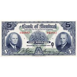 THE BANK OF MONTREAL.  $5.00.  Dec. 7, 1942.  CH-505-64-02.  No. 040887/C.  PCGS graded CH AU-58. PP