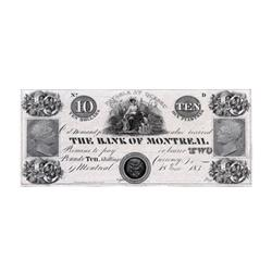 THE BANK OF MONTREAL.  $10.00.  1 June, 183-.  CH-505-12-04-20P.  A Face Proof on thin paper.  Fairm