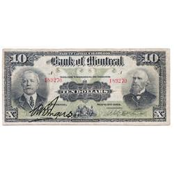 THE BANK OF MONTREAL.  $10.00. Sept. 3, 1912.  CH-505-52-04.  No. 189270.  PMG graded Very Fine-20.