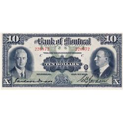 THE BANK OF MONTREAL.  $10.00.  Jan. 2, 1931.  CH-505-58-04.  No. 226872/C.  PMG graded Choice Unc-6