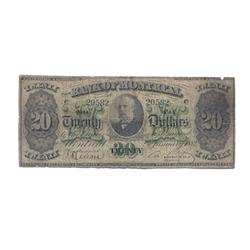 THE BANK OF MONTREAL.  $20.00. 2 Jan., 1882.  CH-505-36-06.  No. 20582.  PMG graded Very Good-10.  T
