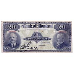 THE BANK OF MONTREAL.  $20.00.  Sept. 3, 1912.  CH-505-52-06.  No. 019089/D.  PMG graded Very Fine-2