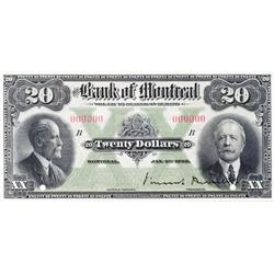 THE BANK OF MONTREAL.  $20.00.  Jan. 2, 1923.  CH-505-56-06S.  A Specimen.  PCGS graded Gem Unc-66.
