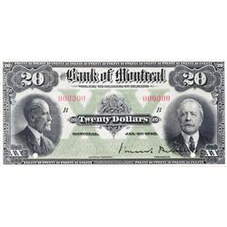 THE BANK OF MONTREAL.  $20.00.  Jan. 2, 1923.  CH-505-56-06S.  A Specimen.  PCGS graded Gem Unc-66.