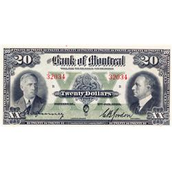 THE BANK OF MONTREAL.  $20.00.  Jan. 3, 1938.  CH-505-62-08.  No. 32034.  PCGS graded Choice Unc-63.