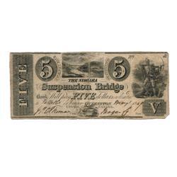 NIAGARA SUSPENSION BRIDGE BANK.  $5.00, (25 Shillings).  CH-535-10-08-14R.  Engraved QUEENSTON. UPPE