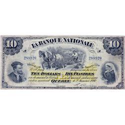 LA BANQUE NATIONALE.  $10.00.  Jan. 2, 1897.  CH-510-20-06.  No. 288920/A.  lines.  PMG graded Choic