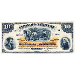 LA BANQUE NATIONALE.  $10.00.  Jan. 2, 1897.  CH-510-20-08.  No. 570896/B.  No lines.  Very Good.