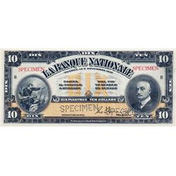LA BANQUE NATIONALE.  $10.00.  Nov. 2, 1922.  CH-510-22-04S.  A Specimen.  PMG graded Choice Unc-64.