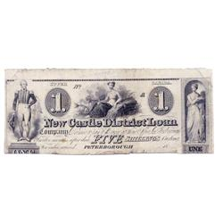 NEW CASTLE DISTRICT LOAN COMPANY.  (1836).  $1.00. (5 Shillings).  CH-525-10-02R.  A Remainder.  EF.