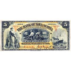 THE BANK OF NOVA SCOTIA.  $5.00.  Sept. 1, 1908.  CH-550-28-12a.  No. 2449200/D.  Orange 'V's.  Very