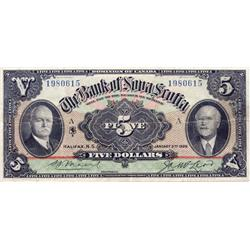 THE BANK OF NOVA SCOTIA.  $5.00.  Jan. 2, 1929.  CH-550-34-02.  No. 1980615/A.  PMG graded Very Fine