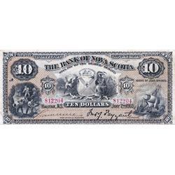 THE BANK OF NOVA SCOTIA.  $10.00.  Jan. 2, 1903.  CH-550-18-08.  No. 812204/A.  PMG graded Fine-15.