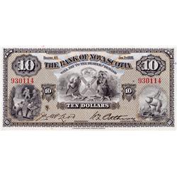 THE BANK OF NOVA SCOTIA.  $10.00.  Jan. 2, 1935.  CH-550-36-04.  No. 930114.  PMG graded Gem Unc-66.