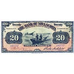 THE BANK OF NOVA SCOTIA.  $20.00.  Feb. 1, 1918.  CH-550-28-16.  No. 185757/C.  Signed Taylor, left.