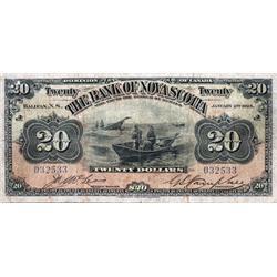 THE BANK OF NOVA SCOTIA.  $20.00.  Jan. 2, 1925.  CH-550-28-18.  No. 032533/A.  PCGS graded Fine-12.