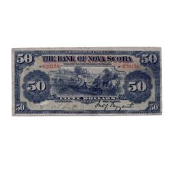 THE BANK OF NOVA SCOTIA.  $50.00.  May 1, 1906.  CH-550-28-24.  PMG graded Very Good-10.  Vibrant co