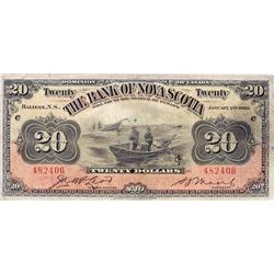 THE BANK OF NOVA SCOTIA.  $20.00.  Jan. 2, 1929.  CH-550-28-22.  No. 482406/C.  PMG graded Very Fine