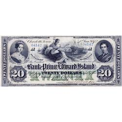 THE BANK OF PRINCE EDWARD ISLAND.  $20.00.  Jan. 1, 1872.  CH-600-12-16R.  A Remainder with Serial N