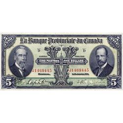 LA BANQUE PROVINCIALE DU CANADA.  $5.00.  Jan. 31, 1919.  CH-615-14-06.  No. J1469445.  PMG graded V