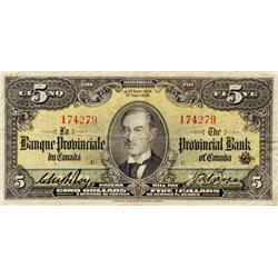 LA BANQUE PROVINCIALE DU CANADA.  $5.00.  Sept. 1, 1936.  CH-615-18-04.  No. 174279/C.  PMG graded F