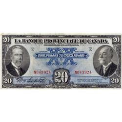 LA BANQUE PROVINCIALE DU CANADA.  $20.00.  1 Aout, 1928.  CH-615-14-18.  No. N043924.  PMG graded Ve