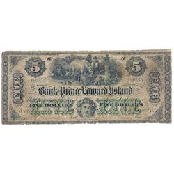 THE BANK OF PRINCE EDWARD ISLAND.  $5.00.  Jan. 1, 1872.  CH-600-12-10.  No. 04655/B.  Conservativel