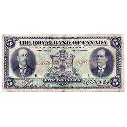 THE ROYAL BANK OF CANADA.  Jan. 2, 1913.  CH-630-12-02.  No. 1863776/B.  PMG graded Very Fine-20.