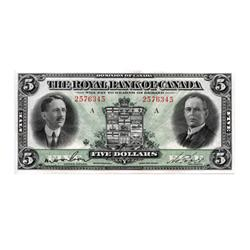 THE ROYAL BANK OF CANADA.  $5.00.  Jan. 3, 1927.  CH-630-14-04.  Wilson, left.  No. 2576345/A.  A we