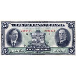 THE ROYAL BANK OF CANADA.  $5.00.  Jan. 3, 1927.  CH-630-14-04. No. 2491474/B & $10.00.  Jan. 3, 192