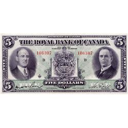 THE ROYAL BANK OF CANADA.  $5.00.  July 3, 1933.  CH-630-16-02.  No. 106307/D.  PMG graded Extra Fin